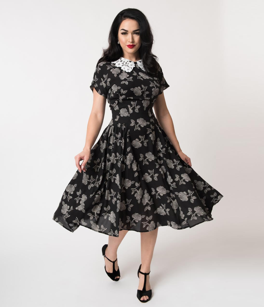 Vintage Tea Dresses, Floral Tea Dresses, Tea Length Dresses Unique Vintage 1940S Black  White Floral Lace Collar Margie Dress $88.00 AT vintagedancer.com
