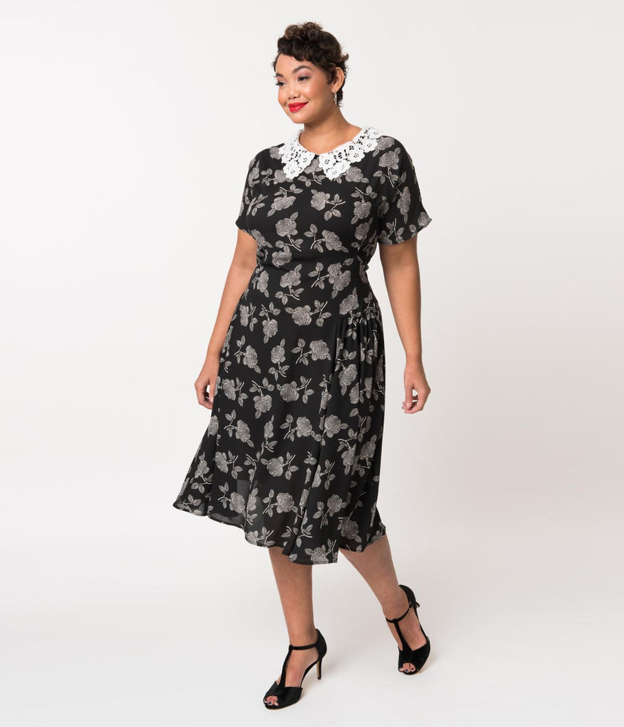 Unique Vintage Plus Size 1940s Black & White Floral Lace Collar Margie Dress