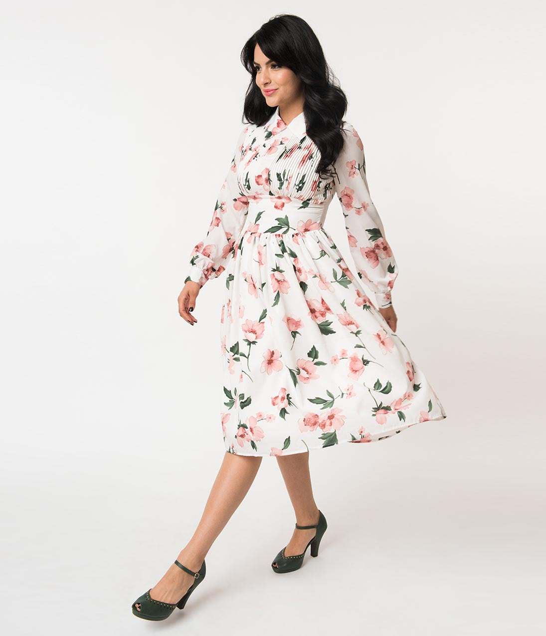 1940s Dresses | 40s Dress, Swing Dress Unique Vintage 1940S Style White  Pink Floral Crepe Deirdre Shirt Dress $118.00 AT vintagedancer.com