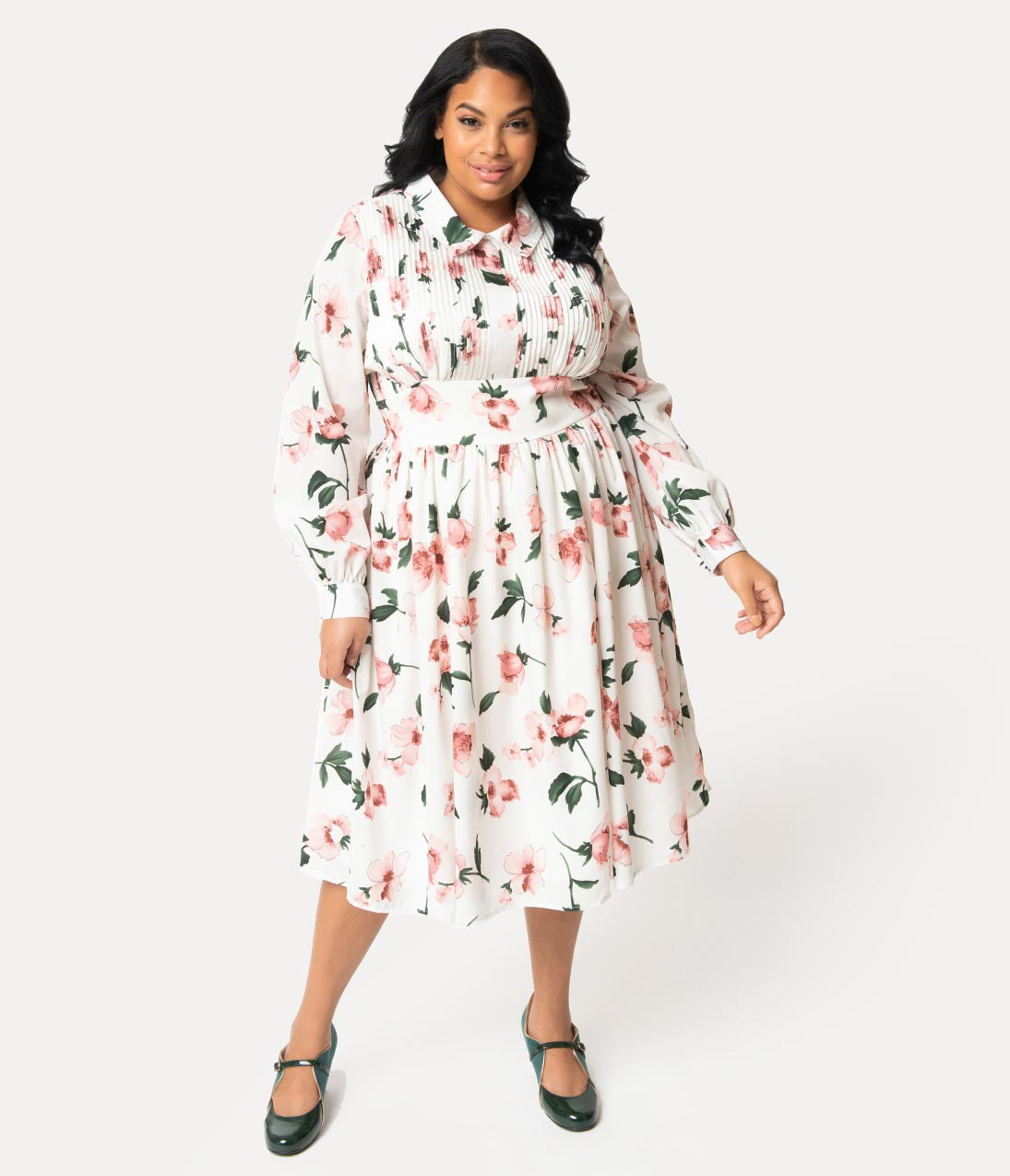 1940s Plus Size Fashion: Style Advice from 1940s to Today Unique Vintage Plus Size 1940S Style White  Pink Floral Crepe Deirdre Shirt Dress $118.00 AT vintagedancer.com
