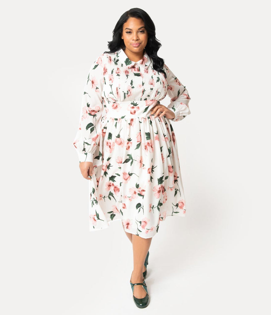 Unique Vintage Plus Size 1940s Style White & Pink Floral Crepe Deirdre  Shirt Dress