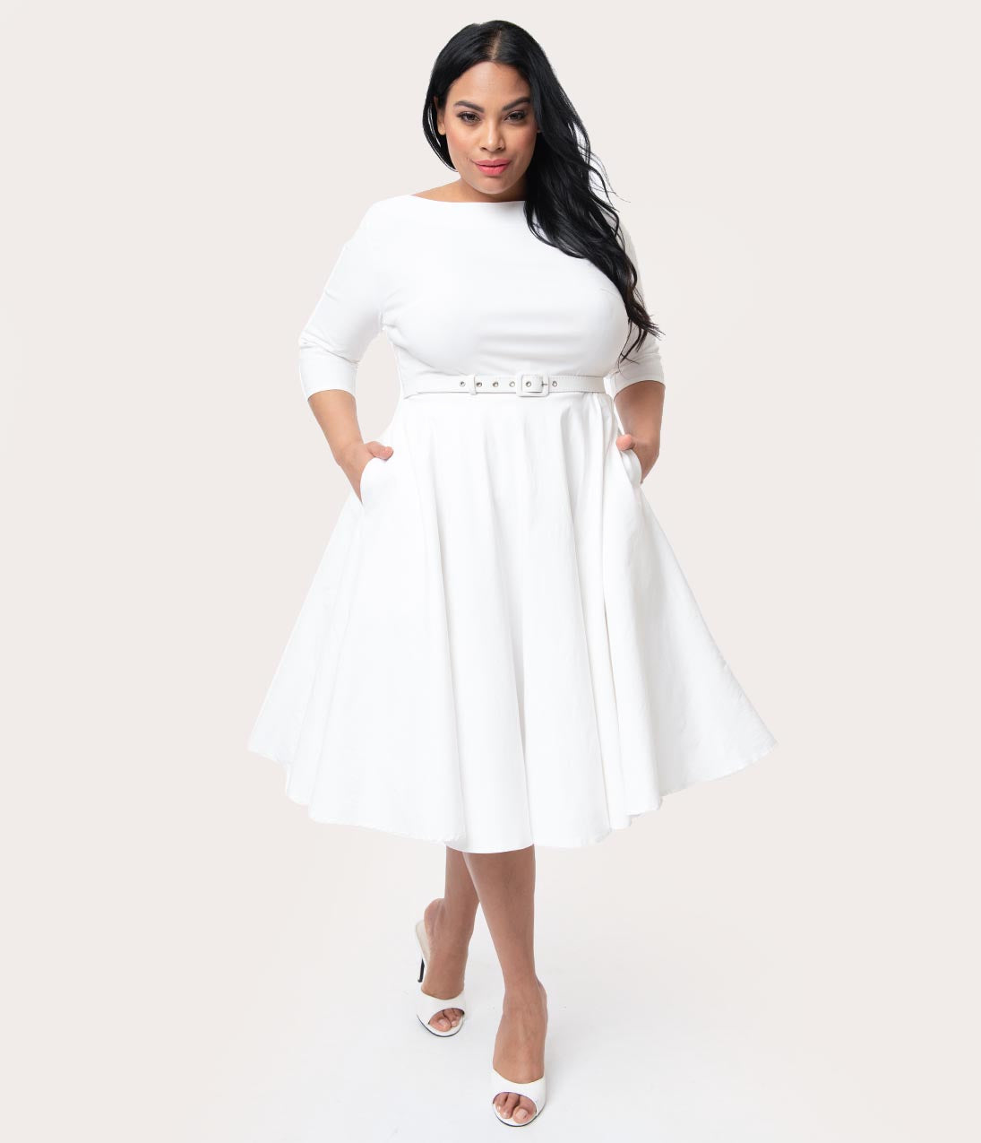 Vintage 50s Dresses: Best 1950s Dress Styles Unique Vintage Plus Size 1950S Style Ivory Stretch Sleeved Devon Swing Dress $88.00 AT vintagedancer.com