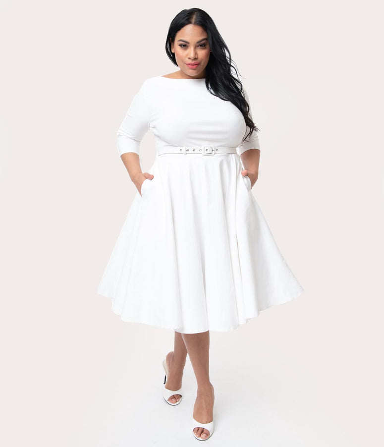 Unique Vintage Plus Size 1950s Style Ivory Stretch Sleeved Devon Swing Dress