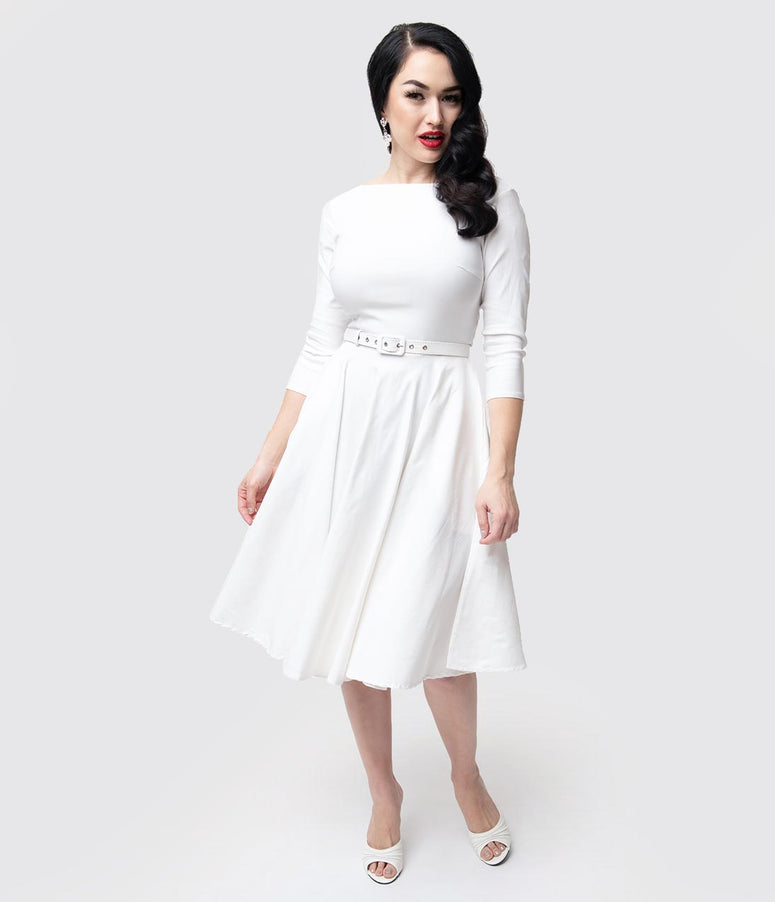 Unique Vintage 1950s Style Ivory Stretch Sleeved Devon Swing Dress