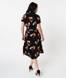 1940s Style Black & Multicolor Poppy Print Gracie Day Dress