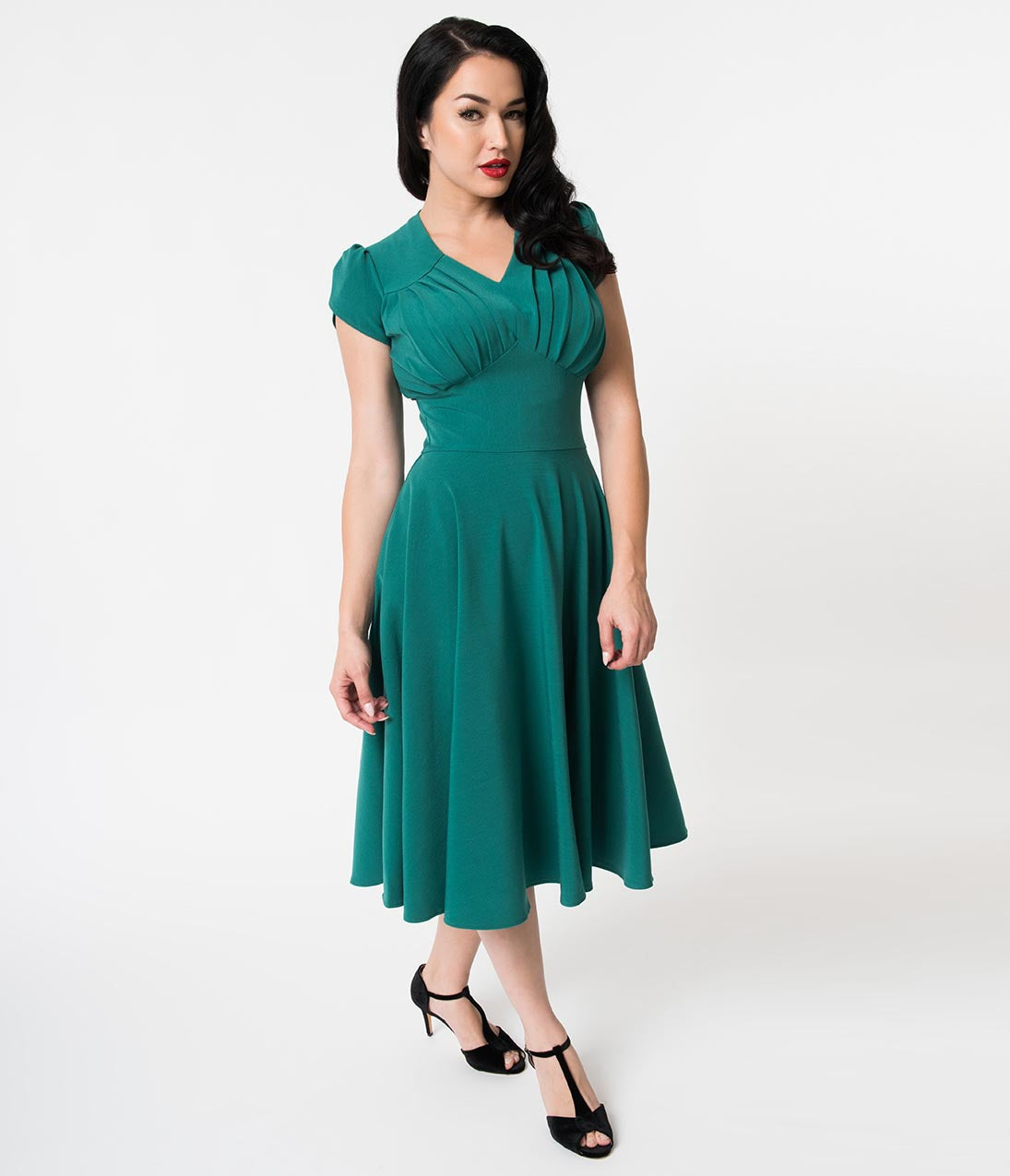 Vintage Tea Dresses, Floral Tea Dresses, Tea Length Dresses Retro Style Emerald Green Petal Sleeve Pleated Swing Dress $74.00 AT vintagedancer.com