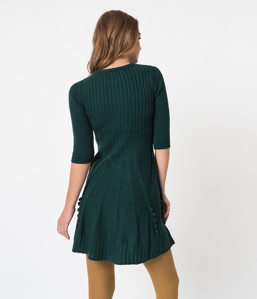 Retro Style Peacock Green Sweater Knit Fit and Flare Dress