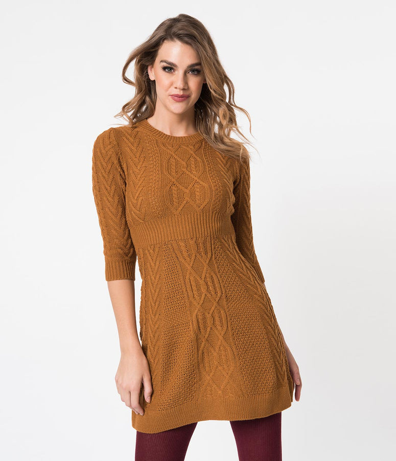 Retro Style Camel Brown Sweater Knit Fit and Flare Dress