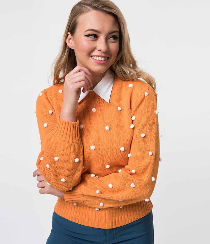 Orange & White Pom Pom Long Sleeve Knit Sweater