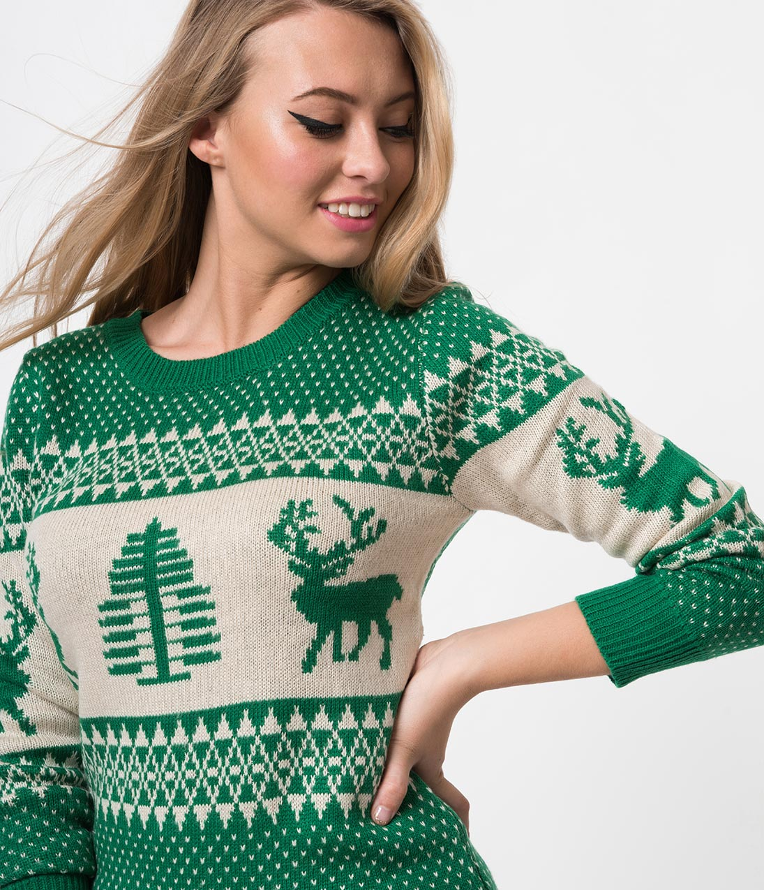 Vintage Sweaters: Cable Knit, Fair Isle Cardigans & Sweaters Green  Ivory Reindeer Long Sleeve Knit Sweater $29.00 AT vintagedancer.com