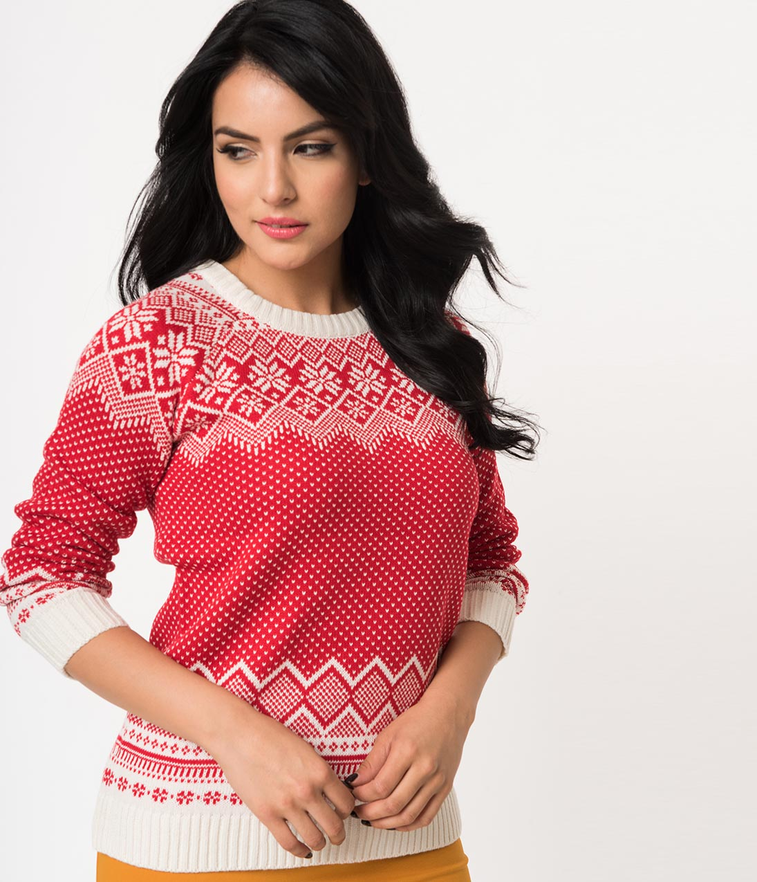 Authentic Natural 1950s Makeup History and Tutorial Vintage Style Red  White Snowflake Long Sleeve Knit Sweater $42.00 AT vintagedancer.com