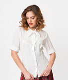 1940s Style White Chiffon Short Sleeve Neck Tie Blouse