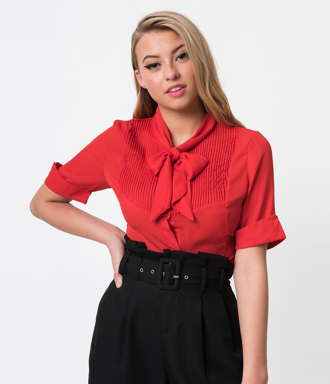 Vintage & Retro Shirts, Halter Tops, Blouses 1940S Style Red Chiffon Short Sleeve Neck Tie Blouse $38.00 AT vintagedancer.com