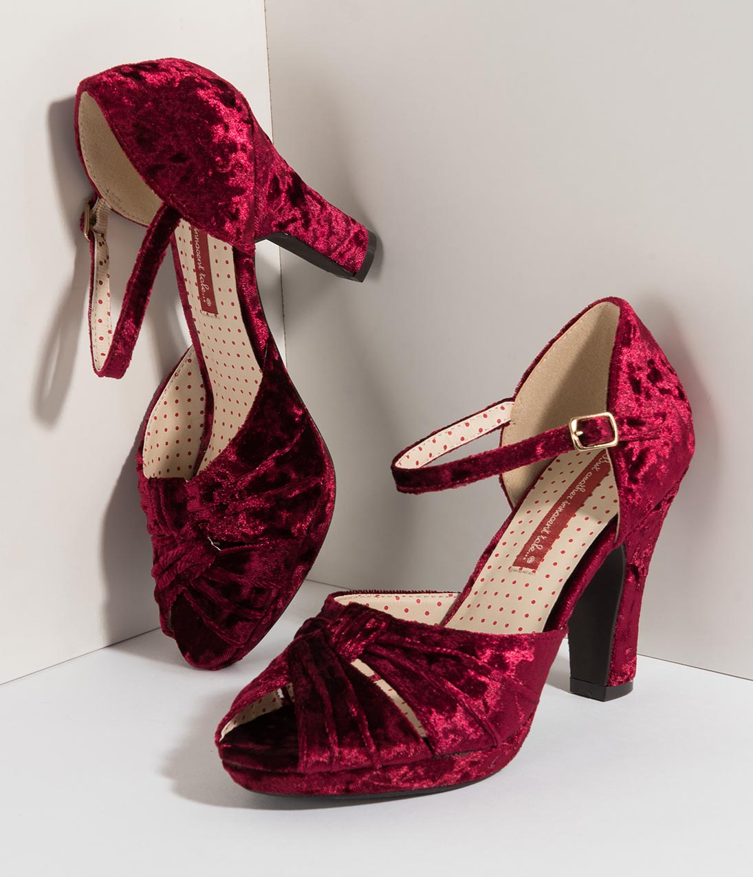 Vintage Style Shoes, Vintage Inspired Shoes B.a.i.t. 1940S Style Ruby Velvet Luella Peep Toe Heels $74.00 AT vintagedancer.com