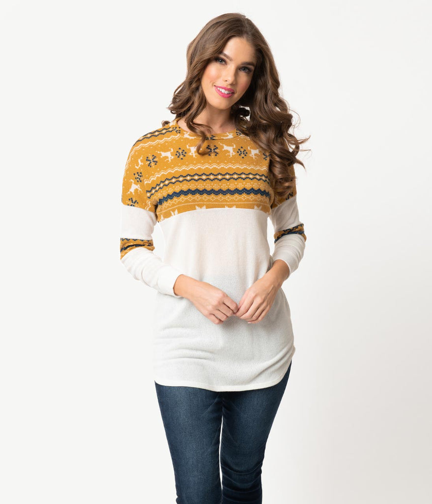 Retro Style Ivory & Mustard Fair Isle Long Sleeve Knit Holiday Sweater