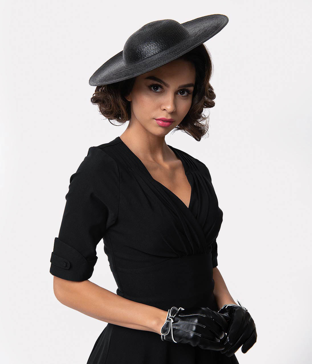 1950s Women's Hat Styles & History Vintage Style Black Straw Headband Disc Hat $38.00 AT vintagedancer.com