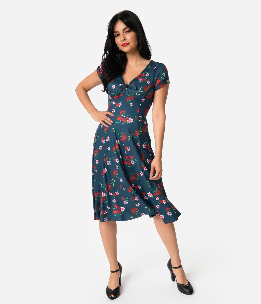 1940s Fashion Advice for Short Women Unique Vintage 1940S Style Navy  Cherry Floral Short Sleeve Natalie Swing Dress $88.00 AT vintagedancer.com