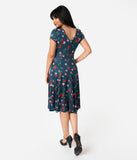 Unique Vintage 1940s Style Navy & Cherry Floral Short Sleeve Natalie Swing Dress