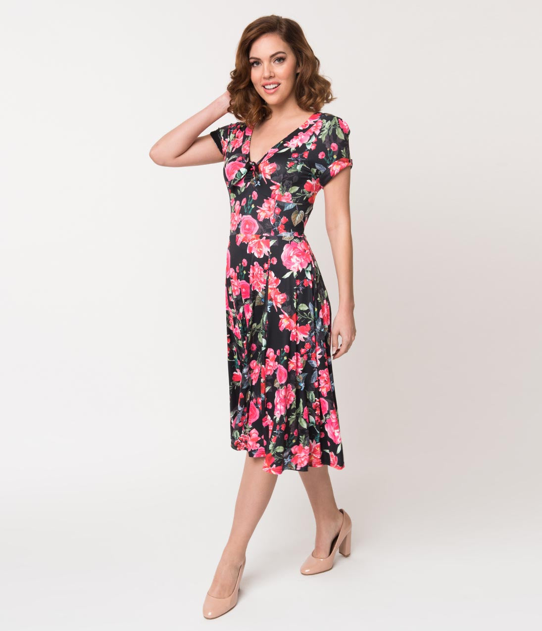 Swing Dance Clothing You Can Dance In Unique Vintage 1940S Style Black  Pink Floral Short Sleeve Natalie Swing Dress $66.00 AT vintagedancer.com