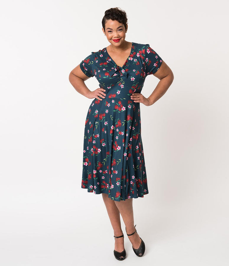 Unique Vintage Plus Size 1940s Style Navy & Cherry Floral Short Sleeve Natalie Swing Dress