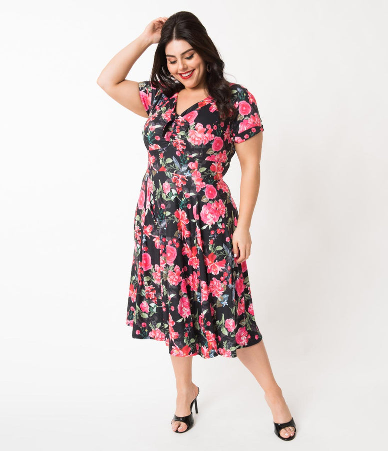 bec39ed45ea Unique Vintage Plus Size 1940s Style Black   Pink Floral Short Sleeve  Natalie Swing Dress