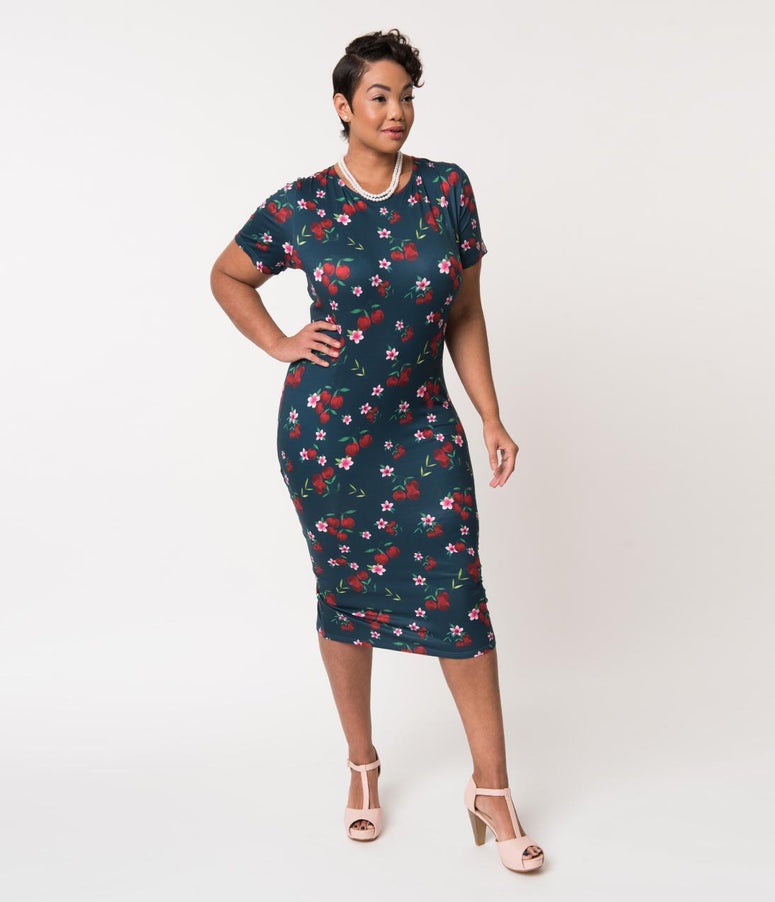 Unique Vintage Plus Size 1960s Style Navy & Cherry Floral Knit Presley Wiggle Dress