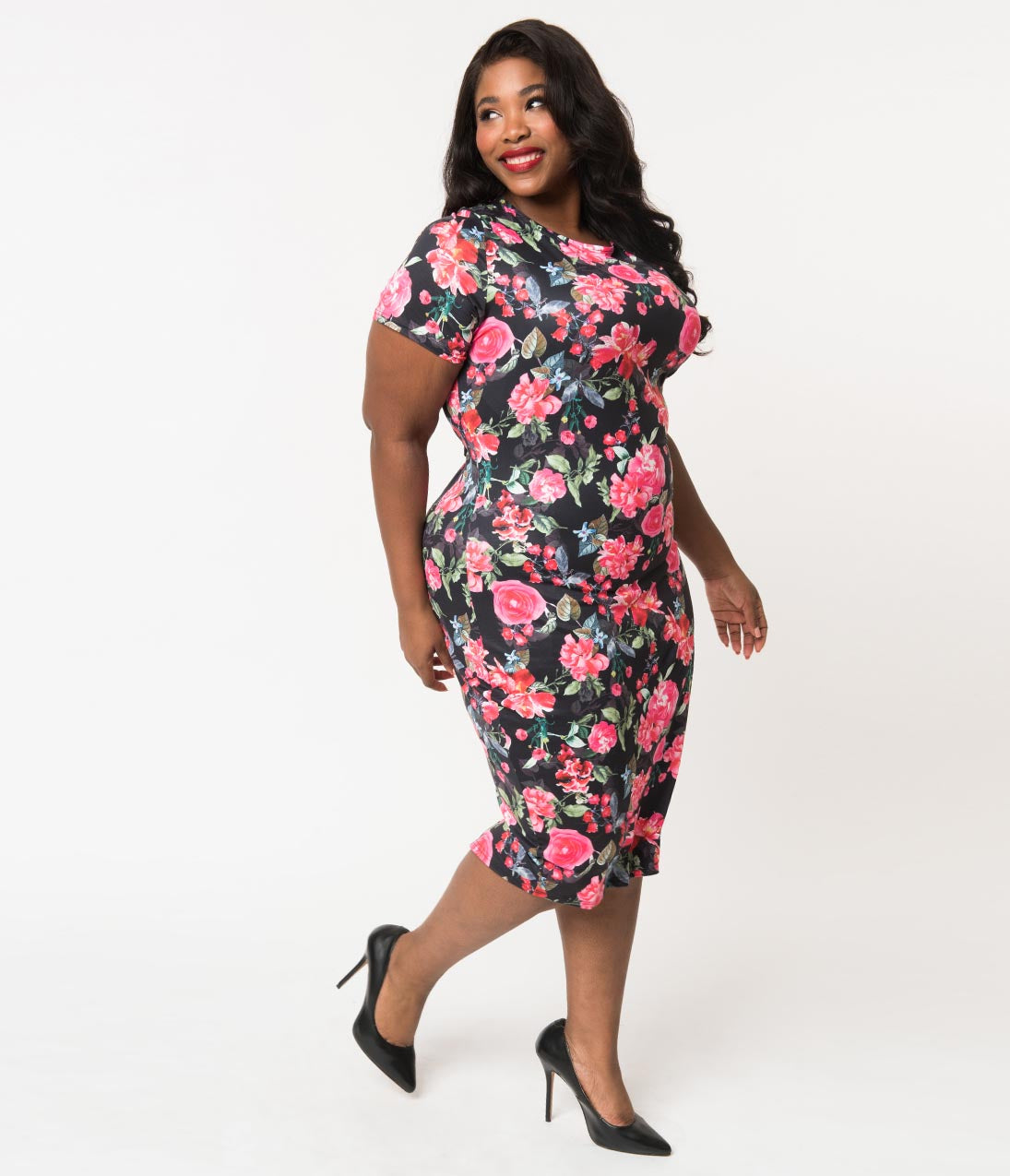 60s 70s Plus Size Dresses, Clothing, Costumes Unique Vintage Plus Size 1960S Style Black  Pink Floral Knit Presley Wiggle Dress $74.00 AT vintagedancer.com