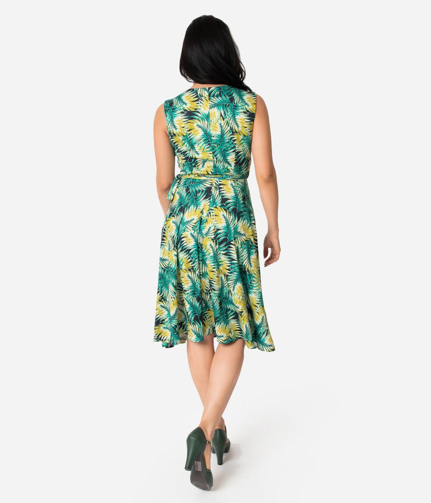 Unique Vintage 1940s Style Tropical Green Leaf Sleeveless Kelsie Wrap Dress