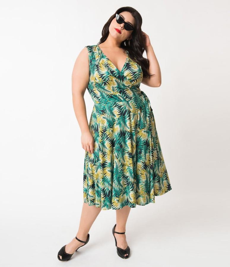 Unique Vintage Plus Size 1940s Style Tropical Green Leaf Sleeveless Kelsie Wrap Dress