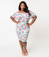 Plus Size Sexy Knit Draped Vintage Fitted Cap Flutter Sleeves Off the Shoulder Floral Print Cowl Neck Portrait Neck Dress With Ruffles