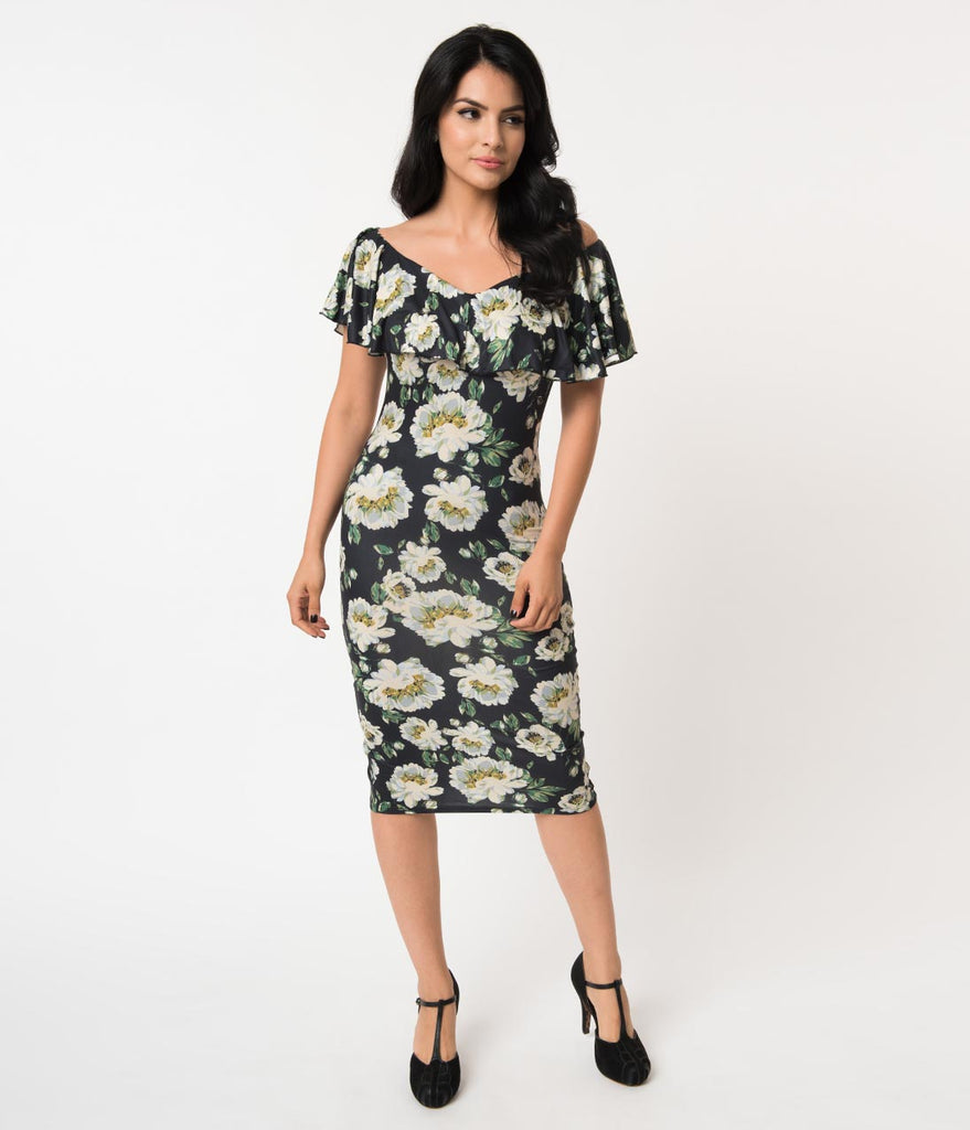 Unique Vintage Black & Ivory Floral Knit Ruffle Sophia Wiggle Dress