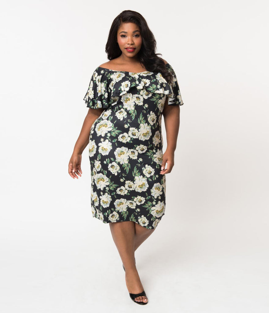 Unique Vintage Plus Size Black & Ivory Floral Knit Ruffle Sophia Wiggle Dress