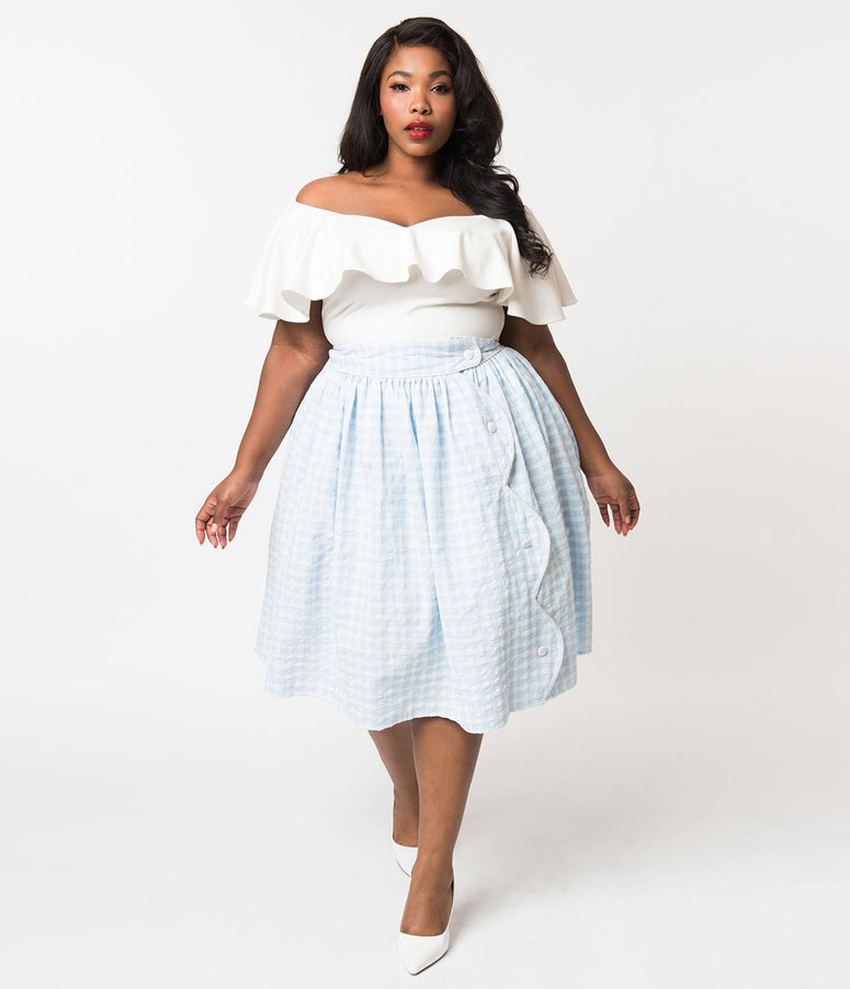 Unique Vintage Plus Size Light Blue & White Gingham Scalloped Button Romero Swing Skirt