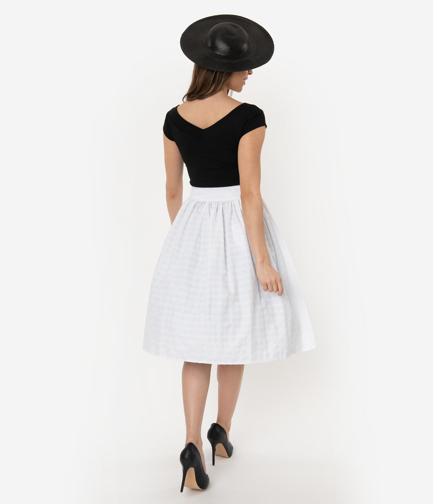 Unique Vintage White Gingham Embroidery Scalloped Button Romero Swing Skirt