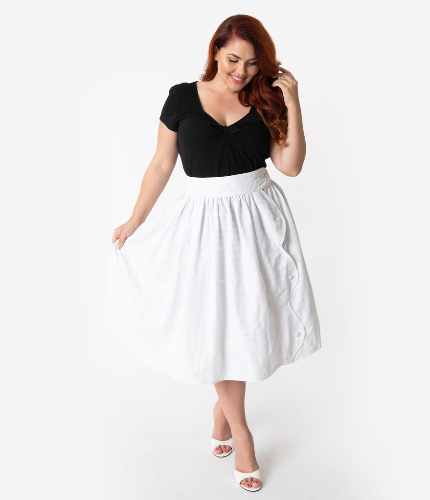 Unique Vintage Plus Size White Gingham Embroidery Scalloped Button Romero Swing Skirt