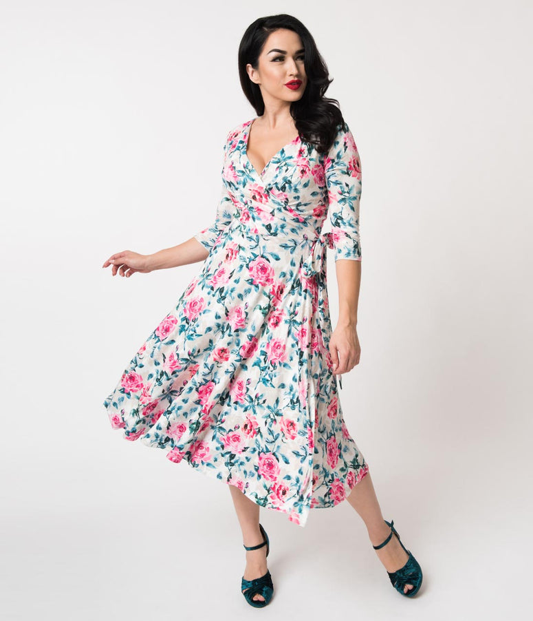 Unique Vintage 1940s Style Cream & Pink Floral Print Kelsie Wrap Dress