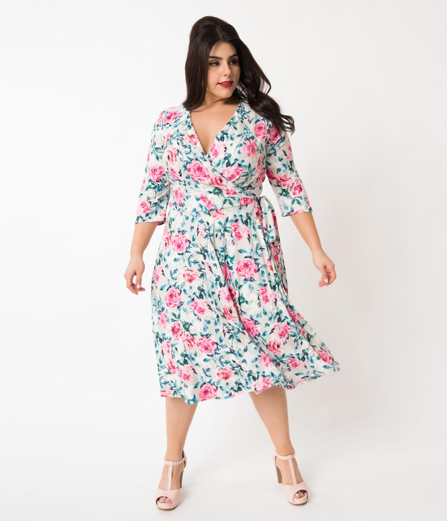 Unique Vintage Plus Size 1940s Style Cream & Pink Floral Print Kelsie Wrap Dress