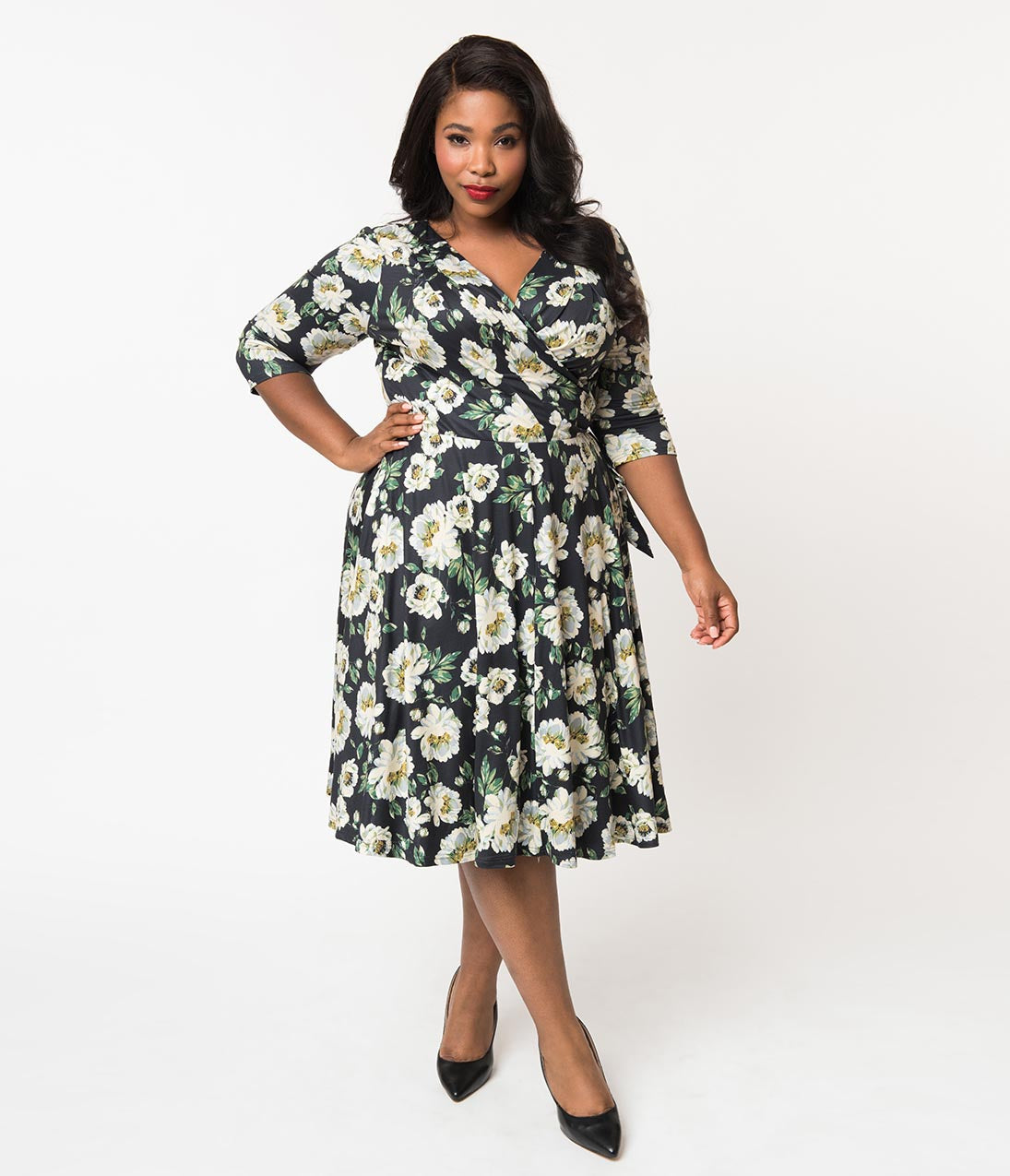 1940s Plus Size Fashion: Style Advice from 1940s to Today Unique Vintage Plus Size 1940S Style Black  Ivory Floral Print Kelsie Wrap Dress $98.00 AT vintagedancer.com