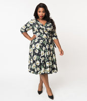 Plus Size V-neck Natural Waistline 3/4 Sleeves Wrap Pleated Vintage Swing-Skirt Floral Print Knit Dress
