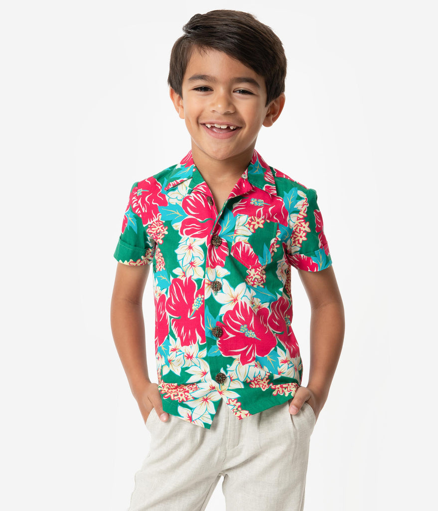 480498aed29 Alfred Shaheen Green   Pink Mala Pua Hibiscus Lei Print Kahuna Boys Sh – Unique  Vintage