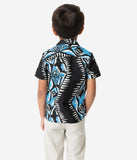 Alfred Shaheen Black & Blue Shark Print Kahuna Boys Shirt