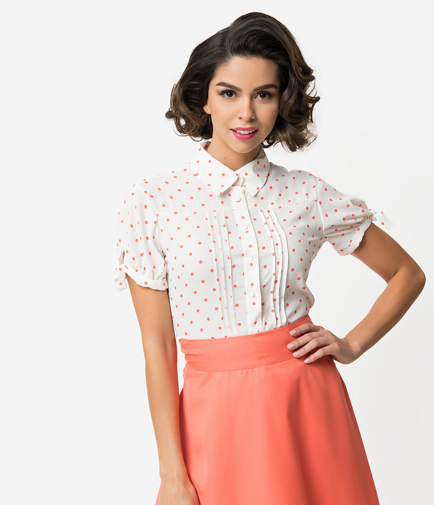 Unique Vintage + Pantone White & Living Coral Polka Dot Button Up Colvin Blouse