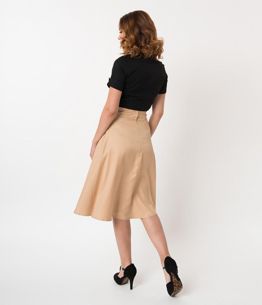 Unique Vintage Retro Style Tan High Waist Vivien Swing Skirt