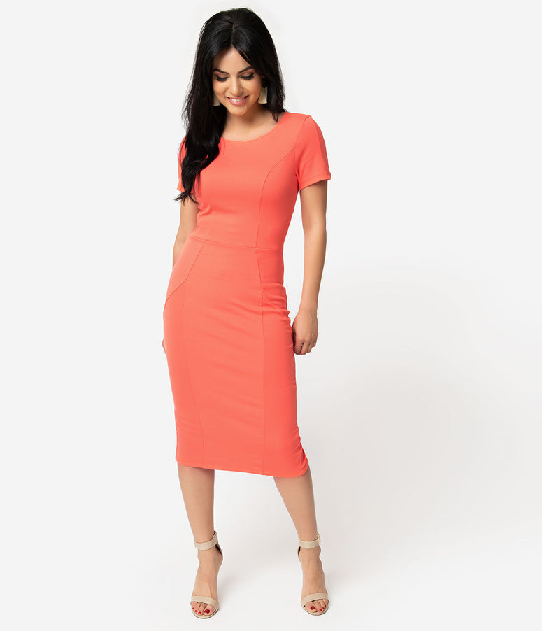 Unique Vintage + Pantone 1960s Living Coral Short Sleeve Mod Wiggle Dress