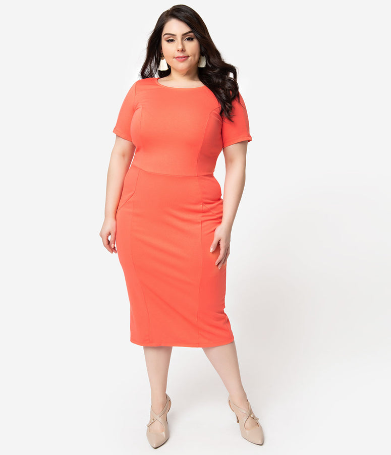 Unique Vintage + Pantone Plus Size 1960s Living Coral Short Sleeve Mod Wiggle Dress
