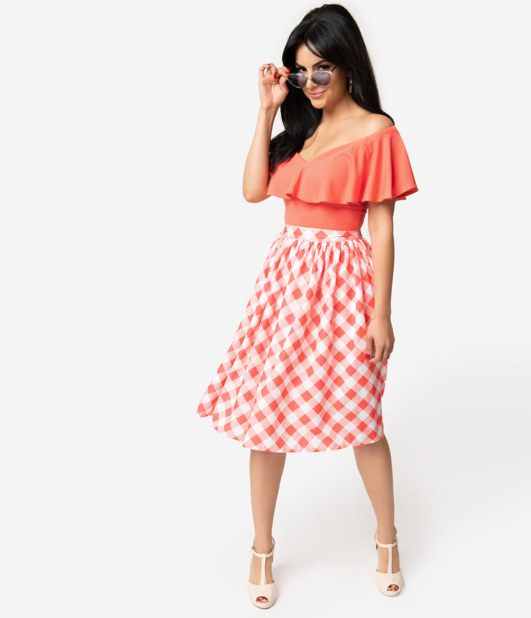 Unique Vintage + Pantone 1950s Living Coral & White Gingham Swing Skirt