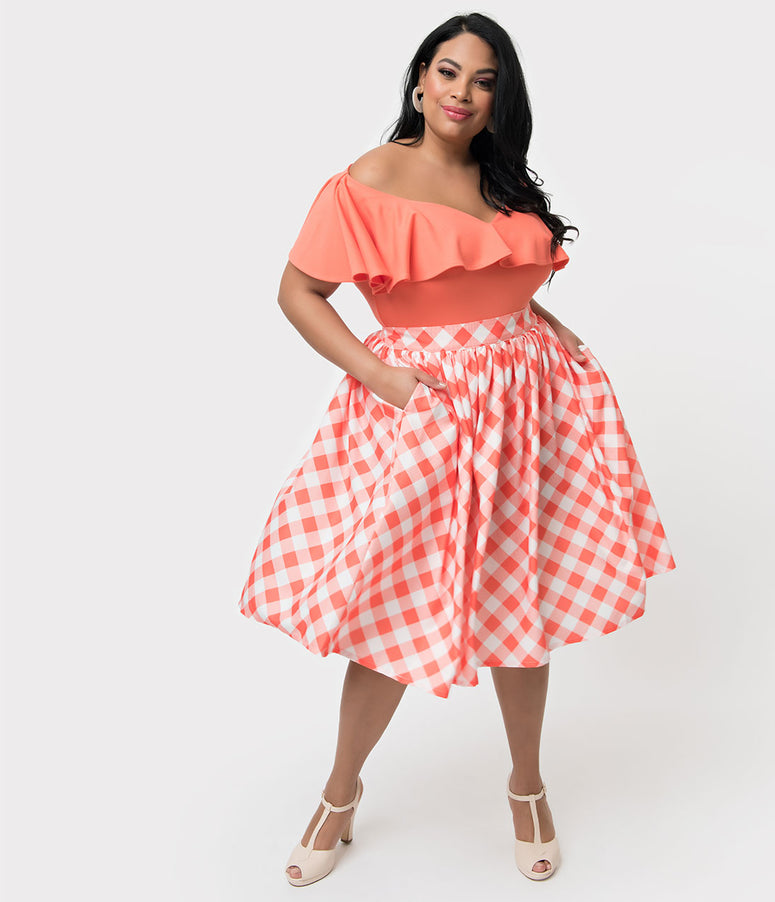 Unique Vintage + Pantone Plus Size 1950s Living Coral & White Gingham Swing Skirt