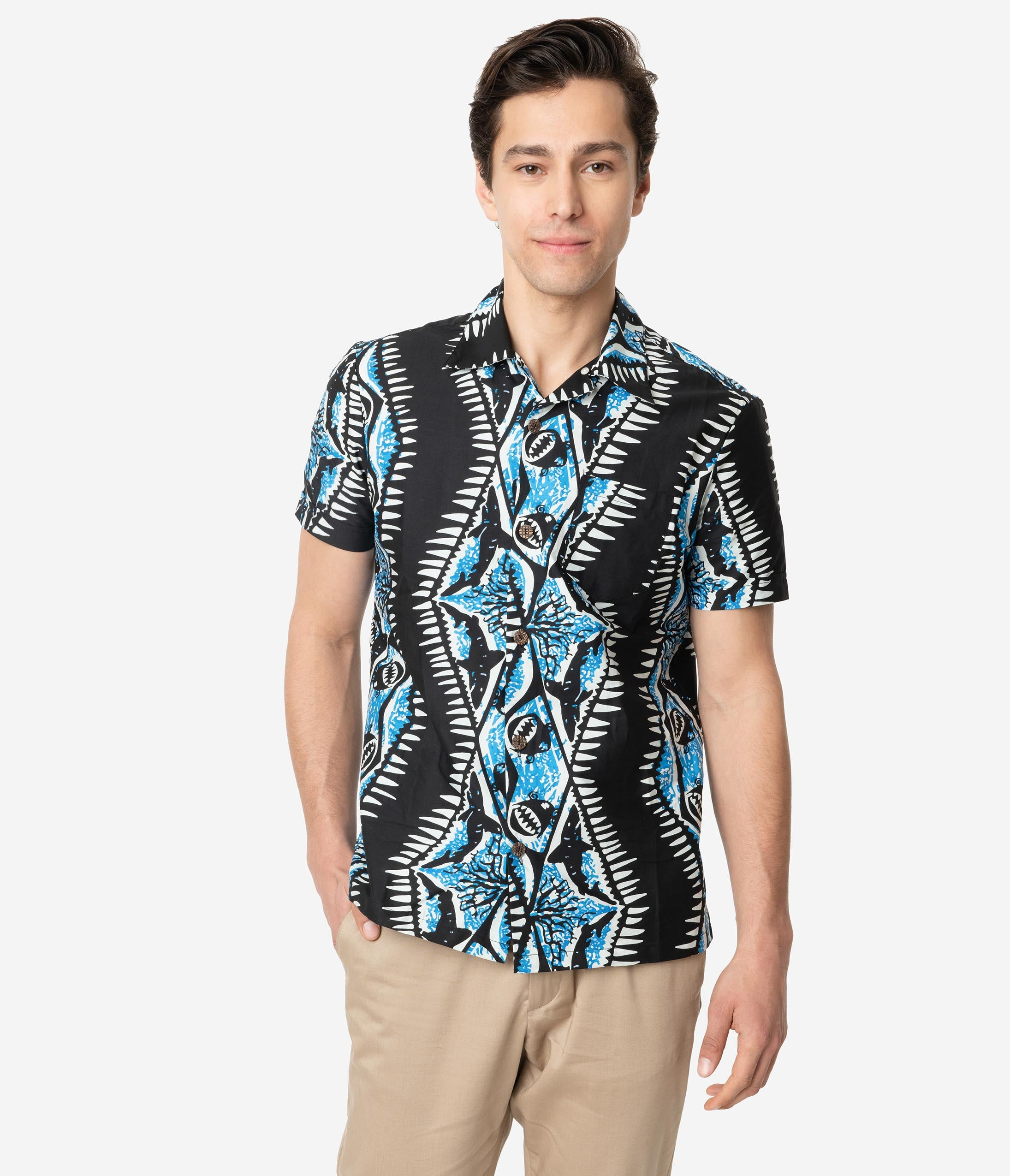 Retro Tiki Dress – Tropical, Hawaiian Dresses Alfred Shaheen Black  Blue Shark Print Mens Cabana Aloha Shirt $78.00 AT vintagedancer.com