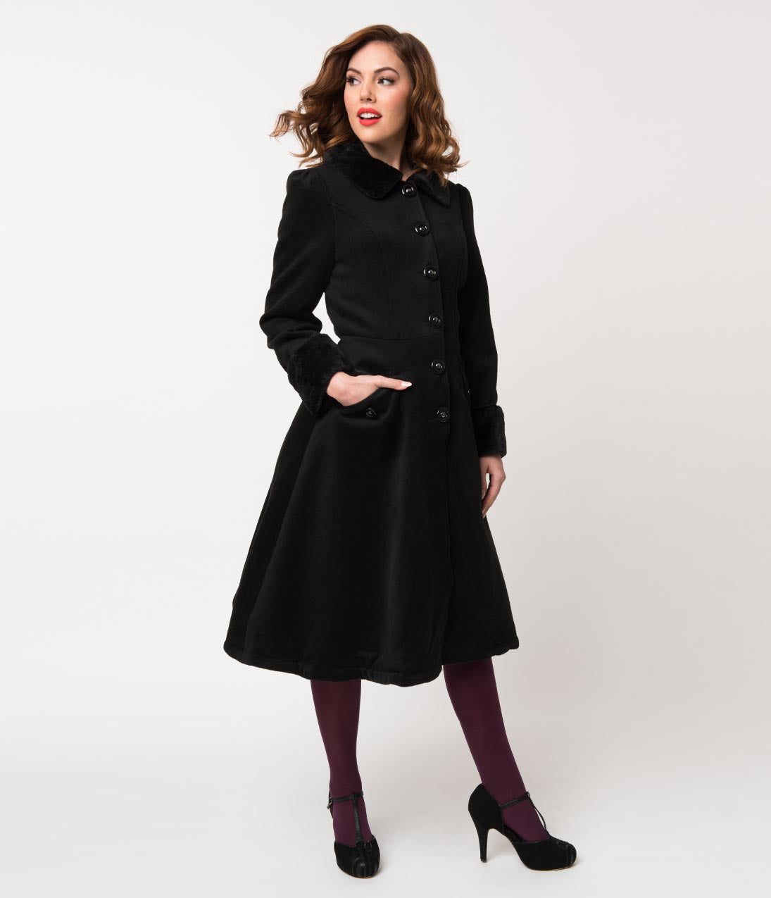 What Did Women Wear in the 1950s? 1950s Fashion Guide Vintage Style Black Felt  Fur Button Up Collette Coat $98.00 AT vintagedancer.com