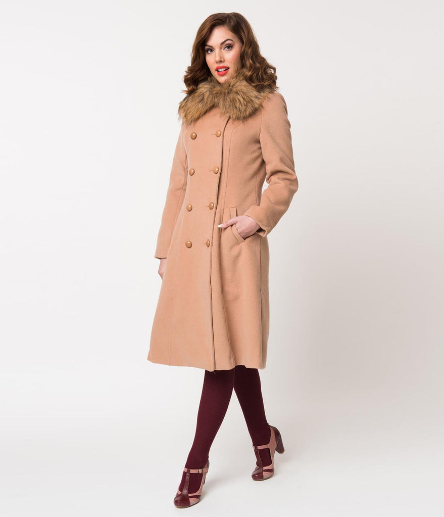 Vintage Style Camel Tan Felt & Fur Double Breasted Chrissette Coat